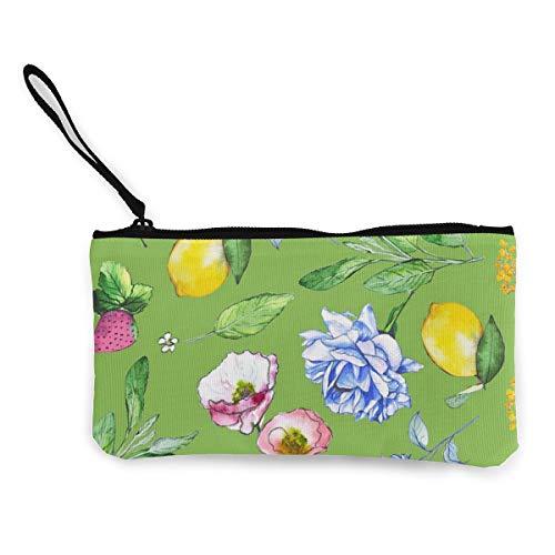 Wrution Pastellfarbene Blumen und Früchte Aquarell-Muster, Segeltuch, Geldbörse mit...