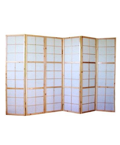 PEGANE Biombo japonés de Madera Natural Shoji de 6 Paneles