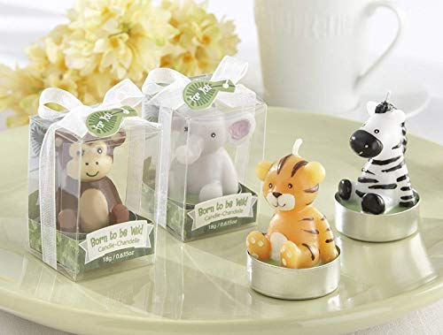 Kate Aspen Born to be Wild Animals Tea Light Candles - Guest Gift, Party Favor or Decorations for Weddings, Bridal Showers, Baby Showers & More - Assorted (6 Sets of 4, 24 pcs)