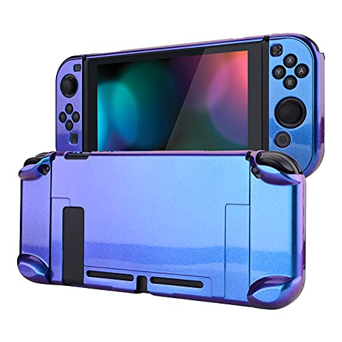 eXtremeRate PlayVital Funda Brillante para Nintendo Switch Carcasa Dura Estuche Protector Separable de Joycons Protectora Dockable Cover Cáscara para Control Switch Joy-con Consola(Azul a Violeta)