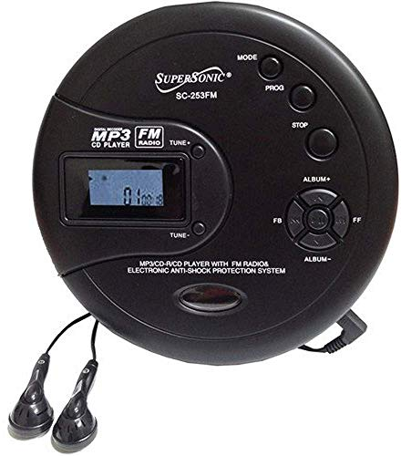 SuperSonic SC-253FM Personal MP3/CD Player w/FM Radio - Portable Device, HQ Stereo Earphones Included