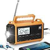 ROCAM Emergency Solar Hand Crank Portable Radio, AM/FM/SW/NOAA Weather Radio with Large LCD Display, 5000mAh Cell Phone Charger, LED Flashlight, Reading Lamp, SOS Alert for Outdoor, Home and Camping