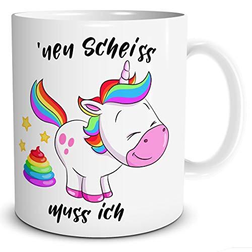 TRIOSK Tasse Einhorn mit Spruch lustig Muss Ich Geschenk Spaßtasse für Frauen Kinder Mädchen Einhornliebhaber Unicorn Regenbogen Rosa Bunt