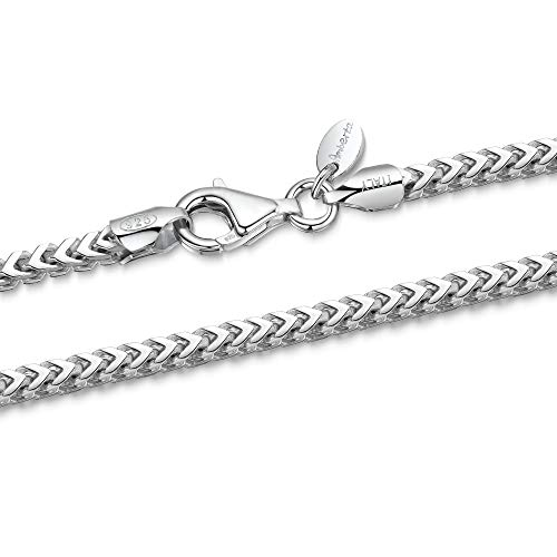 925 Sterling Silver Necklace for Men - Mechanic Franco Chain 2.5 mm Thick - Length 20' inch / 50 cm (20)