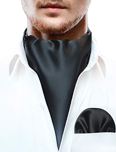 JEMYGINS Herren Krawattenschal Einfarbig Ascot Krawatte Schwarz Cravat für Herren und Einstecktuch Set(5)