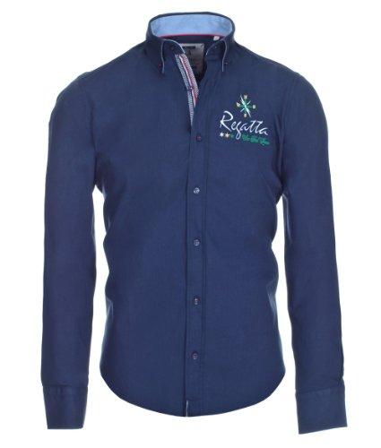Pontto Designer Hemd Shirt in blau Marine einfarbig Langarm Modern-Fit Gr.L