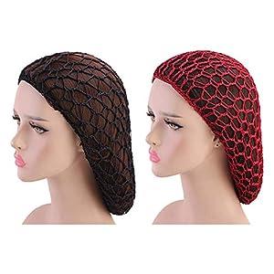 Beaupretty 2 Piezas Mujeres Niña Noche Sueño Sombrero Pelo Red Bollo Crochet Pelo Redecilla para Dormir Ballet Danza (Negro Clarete)