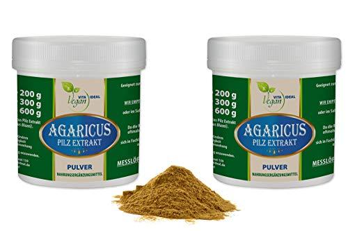 VITAIDEAL VEGAN® Agaricus Pilz Extrakt Pulver (Agaricus Blazei Murill, Mandelpilz) 2x300g inklusive Messlöffel rein natürlich ohne Zusatzstoffe.