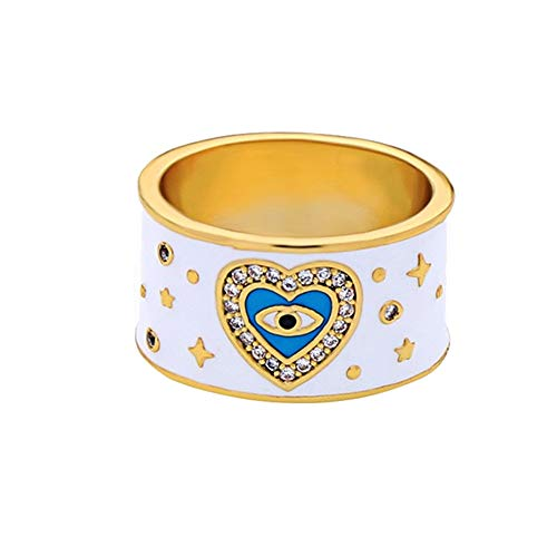 AILUOR Fashion Gold Plated White Enamel Evil Eye Ring, Inspirational Turkish Hamsa Crystal Love Heart Eye Charm Protection Rings for Women Size 7 (White)
