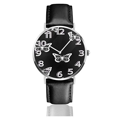Reloj de Pulsera Mariposas Blancas y Negras Correa de Cuero sintético Duradero Relojes de Negocios de Cuarzo Reloj de Pulsera Informal Unisex