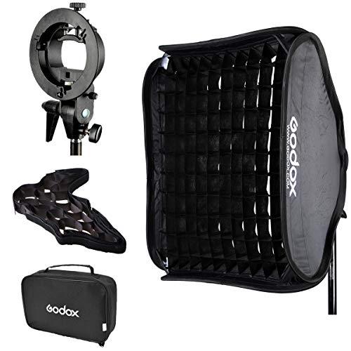 Godox Portable Studio Lighting Photo Softbox Diffuser Bowens Mount for V850 V850II V860 V860II TT600 TT685 AD200 AD200pro Series Studio Flash Strobe with CarryBag, 60x60cm Softbox