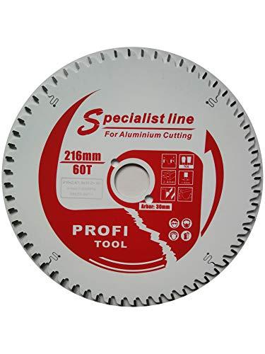 profi-tool-germany HM-Sägeblatt 216 x 2,4 x 30 Z= 60 TF negativ für Alu- Kunststoffprofile mit Antihaft Beschichtung