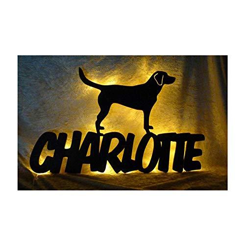 Led Labrador Hund Deko-Leuchte Nachtlicht Lampe mit Name-n - ausgefallene Zubehör Geschenk-e für alle Hunde-Liebhaber Dog Welpe-n in Schwarz