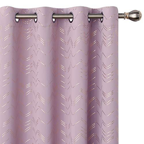 Amazon Brand - Umi Tende Oscuranti Tessuto Orate Isolamento Termico Moderne con Anelli per Cameretta Bambini 140x175cm Rosa Chairo 2 Pezzi