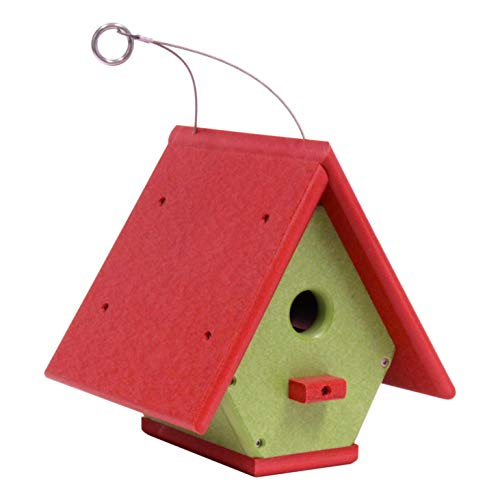 Amish-Made Hanging Wren House, Eco-Friendly Poly-Wood (Bright...