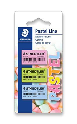 Staedtler Soft 526 35 PBK3. Gomas de borrar de color pastel. Blíster con 3 gomas de colores variados.