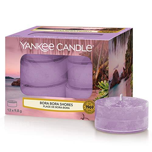 Yankee Candle - Candele profumate al tè, motivo: Bora Shores, 12 pezzi