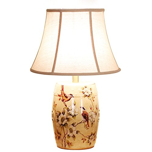CKH Drum kruk keramiek bureaulamp retro Chinese stijl slaapkamer hotel villa verlichting tafellamp doek lampenkap