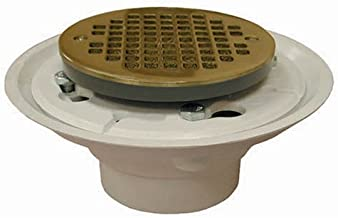 Plumbest D50-133 Cast with Ring Shower Stall or Floor Drain, Polished Brass
