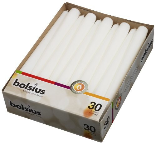 Bolsius White Dinner Candles - Burning 7.5 Hours – Smokeless 10-inch Tall Burning Candles for Wedding, Holiday, Ceremonies and Home Decoration - Pack of 30 Household Dripless Candles