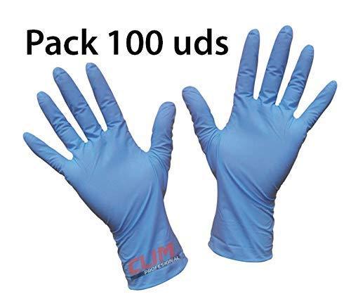 Clim Profesional® Guantes desechables de vinilo azul sin polvo. Paquete autodispensador con 100 uds de la talla Pequeña