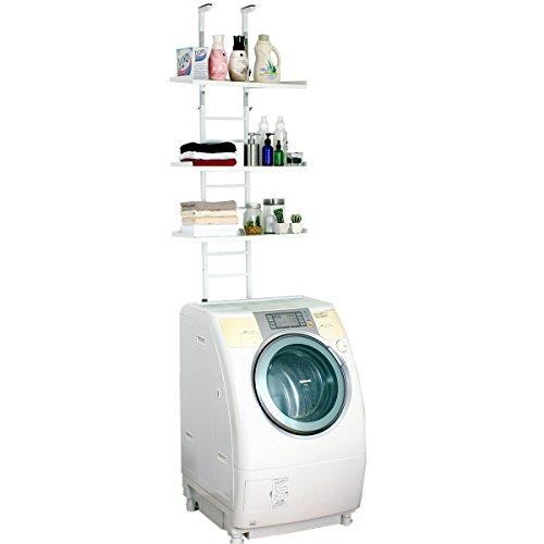 はしご形状のかんたん設置つっぱり洗濯機上ラック (ホワイト 棚3段) 19121 川口工器