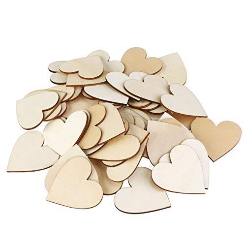 WINOMO Lot de 50pcs 40mm Bois de coeur tranches de disques pour l'artisanat Décoration de Mariage bricolage embellissements (couleur bois)