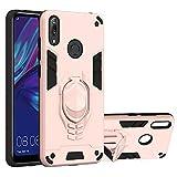 vingarshern Funda para Huawei Y7 / Y7 Pro / Y7 Prime (2019) Carcasa Diseño 2 en 1,TPU Cover+Hard PC Caja,Anti-Choque Estuches Huawei Y7 / Y7 Pro / Y7 Prime 2019 Fund con Soporte Móvil(Oro Rosa)