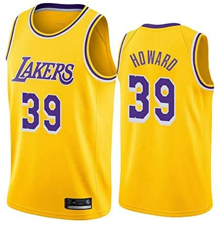 JAG Herren Trikot NBA Los Angeles Lakers # 39 Howard, Cool Breathable Fabric Neue bestickte Retro-Trikots, Unisex Basketball Fan Uniform, L (180CM / 75~85Kg)