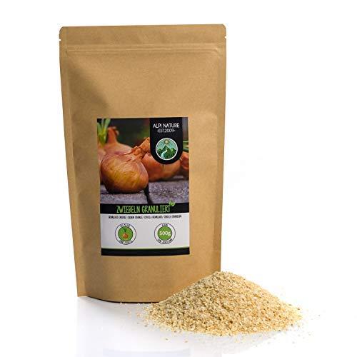 Zwiebel Granulat (500g), Zwiebeln granuliert, Zwiebel gemahlen, 100{368fa0c9613201b7a818c3d4367985eb9611e0637f1ee9b1bfe3b3cf835a0c7a} naturrein aus schonend getrockneten Zwiebeln, natürlich ohne Zusätze, vegan, Zwiebelgranulat