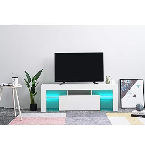 Dakea TV Board Lowboard Fernsehschrank mit LED MDF in weiß Hochglanz 130 x 45 x 35cm