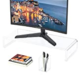 FEMEL Acrylic Monitor Stand Riser(20 Inch Long X 3.5 inch Tall,0.48 inch Thick),Computer Stand for Home Office Business Gamers Desktop, PC Desk Stand with Pen Holder