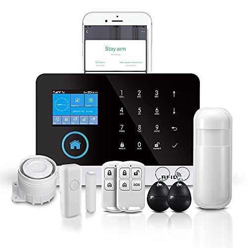 PGST Sistema de alarma de seguridad PG-103, kit inteligente de sistema de alarma de seguridad para el hogar de vídeo 3G+GSM+WIFI, fácil de controlar e instalar