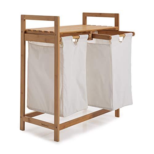 Lumaland Wäschekorb aus Bambus, mit 2 ausziehbaren Wäschesäcken, ca. 73 x 64 x 33 cm Weiß