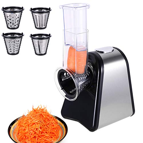 WOOKRAYS Salad Maker, Electric Slicer Electric Grater with 4 Attachments for Fruits, Vegetables, Cheeses and Fruit