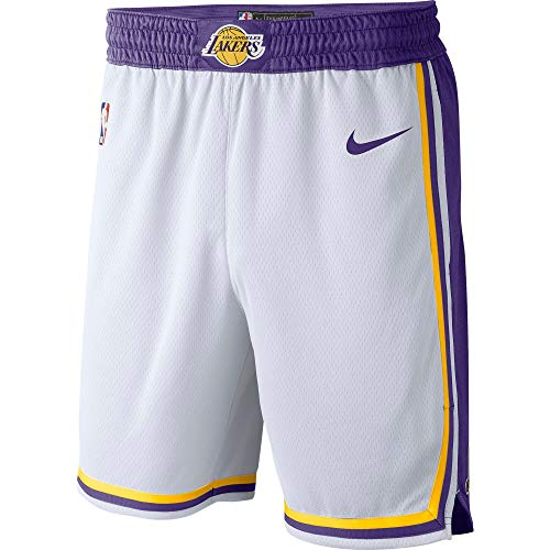 Nike Los Angeles Lakers NBA Boys Youth 8-20 Association Edition White Swingman Shorts (Youth Small 8)
