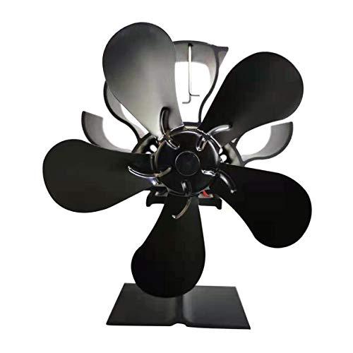 MXECO Par votre foyer Poêle à bois ou poêle à granulés Dispersant efficacement l'air chaud autour de votre pièce Ventilateur électrique (noir)