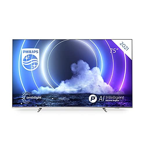 Philips 75PML9506 75 Pulgadas 4K Smart TV UHD LED Android TV con Ambilight, Imagen HDR Vibrante, Dolby Vision cinematográfico y Sonido Atmos, Compatible con Google Assistance y Alexa, Plateado Claro