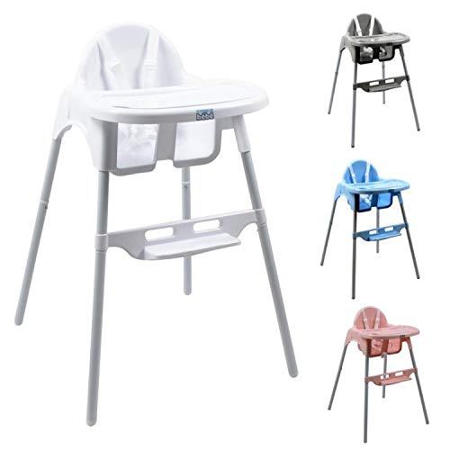 Monsieur Bébé ® Chaise haute enfant, réglable hauteur et tablette - 4 coloris - Norme NF EN14988