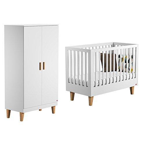 Lit bébé 60x120 et Armoire 2 portes Lounge - Blanc