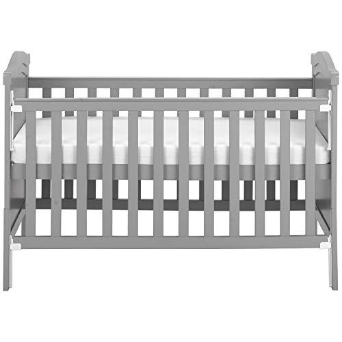 Cama para cuna de madera maciza con colchón de espuma │ Se convierte en una cama junior │ Mecanismo con una sola mano │ 3 posiciones ajustables (gris)