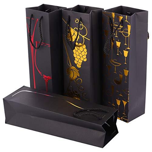 Cabilock 16 bolsas de regalo para vino con asas, papel metalizado, para botellas de champán, bolsa para la compra, aniversario, cumpleaños, inauguración de la casa, fiesta de Navidad