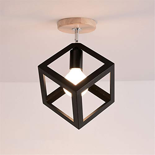 Luminarias ligeras de techo LED modernas Negro y de madera y blanco PORCHO E27 Lámpara Lámpara de techo para sala de estar Luces de lámpara de dormitorio F