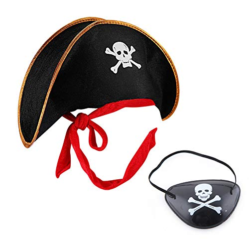 MAKFORT Piratenhut und Piraten Augenklappe Bekleidungszubehör Piratenkapitän Totenkopf Piratenhut Mütze für Herren und Kinder Halloween Kostüm Zubehör