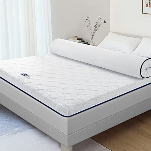 BedStory 3 Inch Memory Foam Mattress Topper King, Bamboo Charcoal Infused Cooling Memory Foam Bed Mattress Pad with Removable & Washable Bamboo Cover, CertiPUR-US Certified - King Size