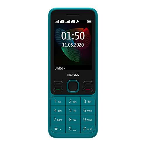 Nokia 150 Version 2020 Feature Phone (2,4 Zoll, 4 MB interner Speicher (erweiterbar auf bis zu 32 GB per MicroSD-Karte), 4 MB RAM, Dual SIM) Cyan