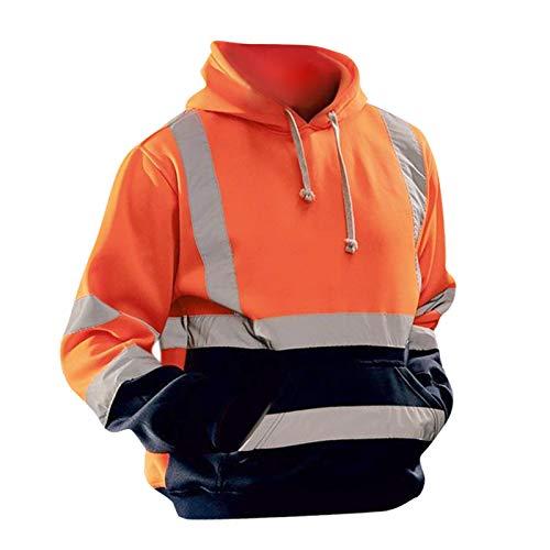 yotijar Hoge Zichtbaarheid Veiligheidshoodies Sweatshirt met Zak En Reflecterende Strepen, Heren Hoodie voor Wegwerkzaamheden - Oranje M