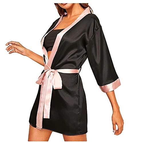 Neue Frauen Seide Langarm Satin Pyjama Nachtwäsche Robe Mit Gürtel Bademantel Frauen Sexy Charmante Nachtwäsche Unterwäsche Spitze Nacht-Black-5-S