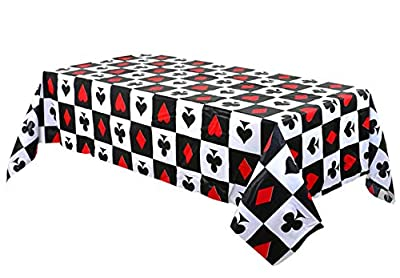 Casino Poker Game Themed Birthday Party Decorations -Plastic Table Cover for Arts & Crafts, Poker Party Supplies for Las Vegas Theme Casino Party Game (1 Pack)