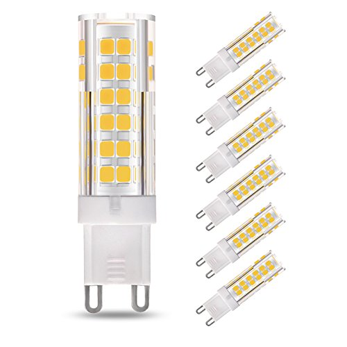 LAKES G9 LED Bombilla, 7W (equivalente a bombilla halógena de 60W), no regulable, ángulo de haz de 360 grados, blanco cálido 3000K, bombillas de bajo consumo, 6-PACK
